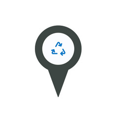 pin icon with recycle sign symbol vector image