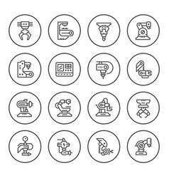 set round line icons of robotic industry vector image vector image