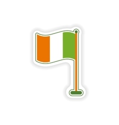 Stylish paper sticker on white background flag vector