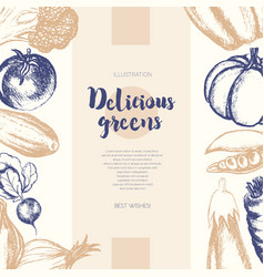 Vegetables - color hand drawn composite banner vector