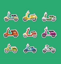 vintage scooters isolated labels set vector image vector image