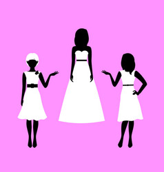 Woman model in summer dresses silhouettes vector