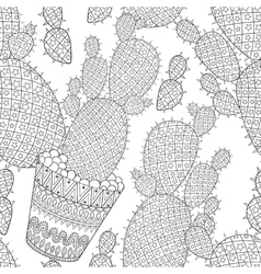 Zentangle cactus seamless pattern hand drawn vector