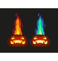 Scary pumpkin with fire vector