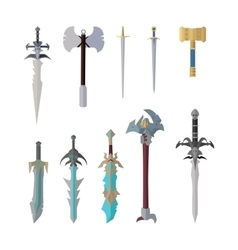 Set of fantastic game weapon models vector