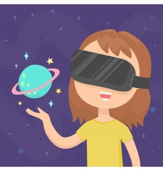 Girl wearing a virtual reality glasses in space vector