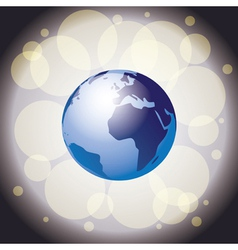 Earth on shiny background vector