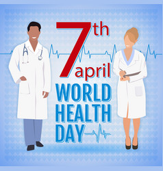 World health day concept with doctors and stylish vector