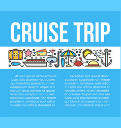 Cruise trip banner with travelling symbols vector