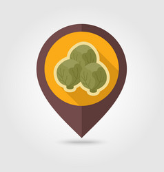 Brussels sprouts flat pin map icon vegetable vector