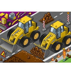 Isometric yellow bulldozerin front view vector