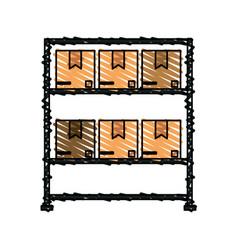Color crayon stripe cartoon shelf with sealed vector