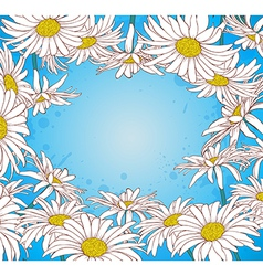 Blue background with chamomile vector