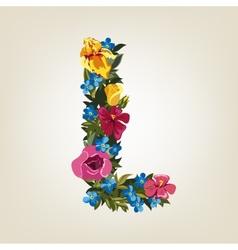L letter flower capital alphabet colorful font vector