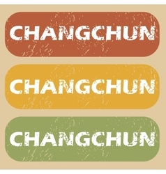 Vintage changchun stamp set vector