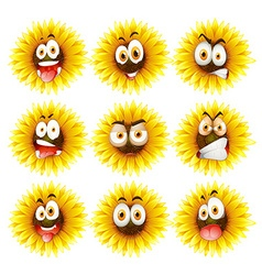 Sunflowers with facial expression vector