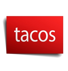 Tacos red paper sign isolated on white vector
