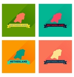 Concept flat icons with long shadow netherlands vector