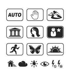 Digital camera modes icons set vector image