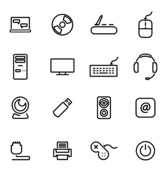 Thin line icons - computer vector