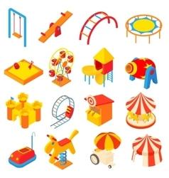 Amusement park icons set cartoon style vector image