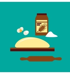 Baking concept with flour and dough vector image