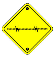 barbed wire warning sign vector image