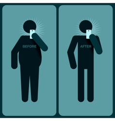Before and after a diet silhouette of man vector