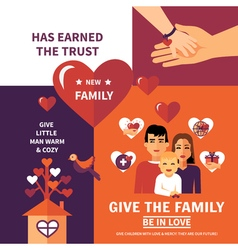 Charity adoption flat banners composition design vector