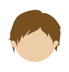 Color silhouette of head faceless of boy with vector