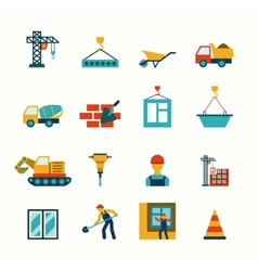 Construction flat icons set vector