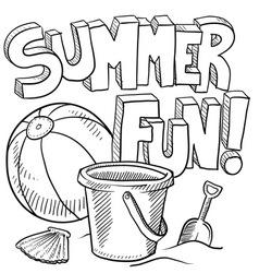 doodle summer fun vector image