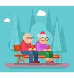 Elderly couple sitting on a bench in park vector image vector image