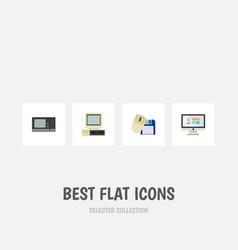 flat icon laptop set of computer computer mouse vector image