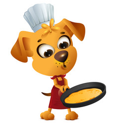 fun yellow dog cook to make pancake in frying pan vector image