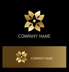 gold abstract flower geometry logo vector image