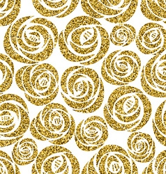 Golden roses seamless pattern design vector image