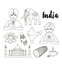 India icon set vector