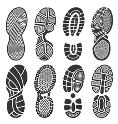 Isolated footprint silhouettes dirty shoes vector