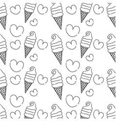 Line sweet ice cream in the cornet with heart vector