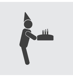 Man with cake icon vector image vector image