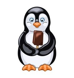 Penguin with ice cream vector