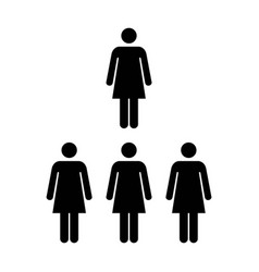 people icon group of women team pictogram glyph vector image vector image