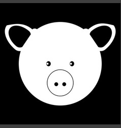 Pig head the white color icon vector