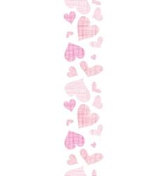 Pink textile hearts vertical border seamless vector image vector image