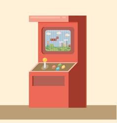 Retro arcade machine with game flat style vector