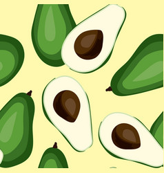 Seamless avocado pattern tile green vegetable vector