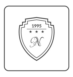 Shield emblem flat white vector