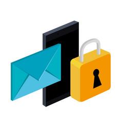 Smartphone message email lock secure digital vector