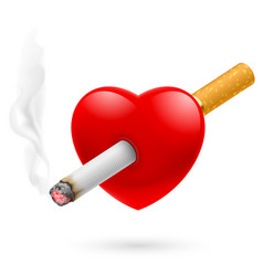 Smoking kill of red heart impaled by cigarette vector
